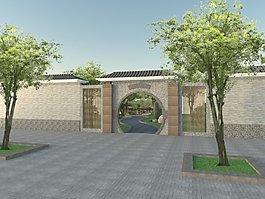 中式园林景墙素材设计素材