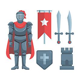 扁平中世紀騎士元素