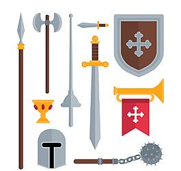 卡通中世紀武士的元素