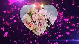 玫瑰花瓣心形電子相冊會聲會影模版