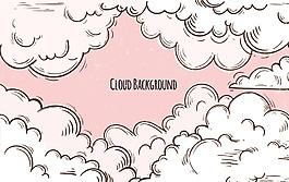 粉紅色手繪云朵背景