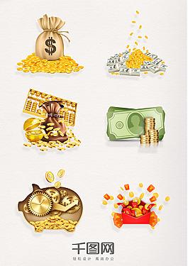 一堆金币彩色元素图案
