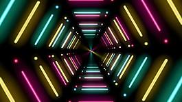 炫酷霓虹燈隧道視頻素材