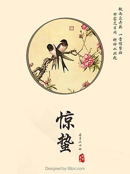 中國風簡約設計驚蟄節氣海報psd源文件
