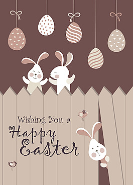 復活節柵欄場景兔子