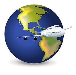 卡通地球儀和飛機素材