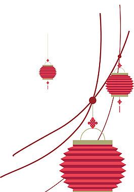 喜庆中国结灯笼元素