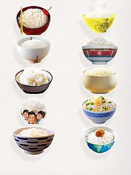 大氣中國傳統主食白色米飯裝飾圖案
