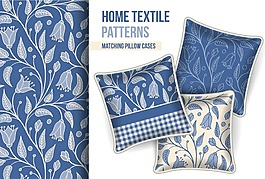 時尚藍色藝術花紋抱枕