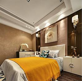 簡約臥室床頭灰色背景裝修效果圖