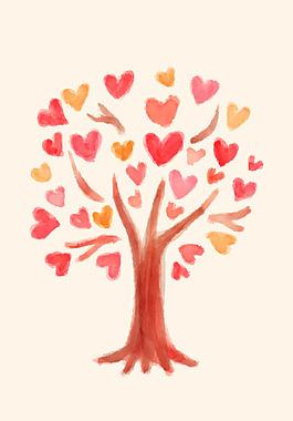 簡約日系彩繪愛心樹矢量背景