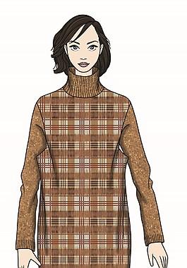 简约风格深色格子毛衣女装服装效果图
