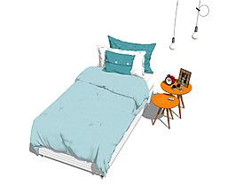 彩色木制床铺效果图
