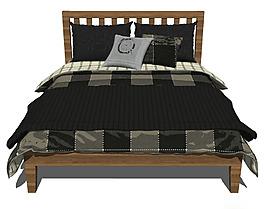 木制床鋪模型效果圖