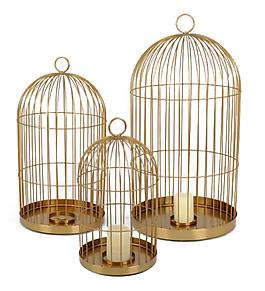 文艺高级金色鸟笼装饰元素