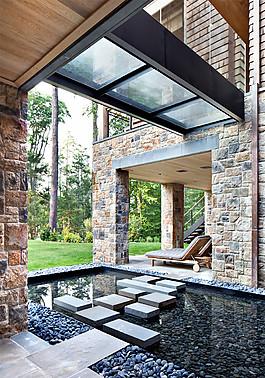 獨棟別墅室外水池設計效果圖