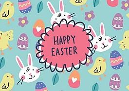 兔子小鳥復活節ai矢量素材下載