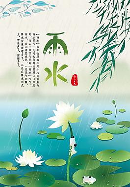 雨水二十四節氣海報模板