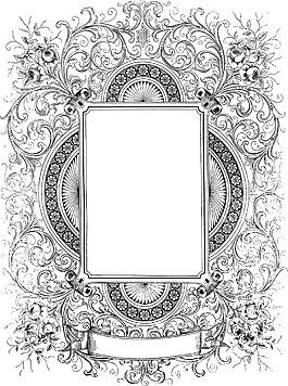 卡通灰色花紋邊框png元素