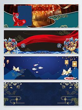 狗年時尚藍大氣喜慶幾何banner背景