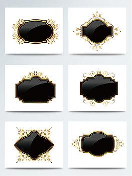 黑金色系歐式邊框素材
