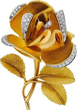 金色玫瑰璀璨鉆石邊圈png元素