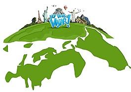 卡通綠色地球世界名勝地標建筑png元素