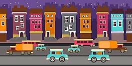 卡通城市建筑插画