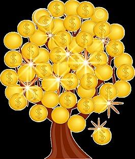 卡通金币树装饰图案设计