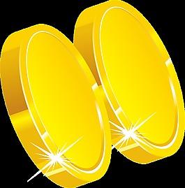 2个手绘大金币图案元素