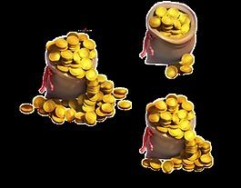 三堆卡通金币PNG元素