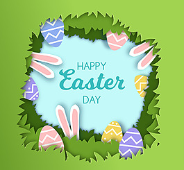 復活節快樂綠色元素兔子