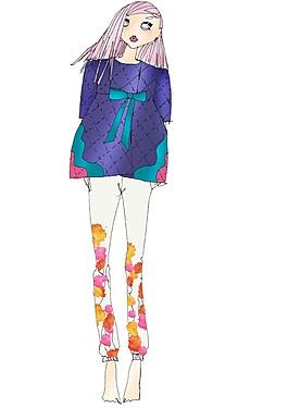 美麗深紫色上衣女裝效果圖