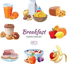 時尚美味早餐插畫