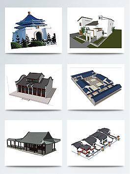 手绘徽派建筑图案元素