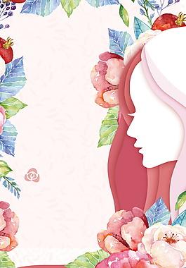 彩繪花朵三八節日海報背景設計