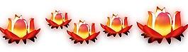 卡通紅色蓮花燈png元素