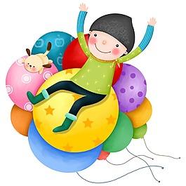 卡通氣球上歡樂兒童png元素