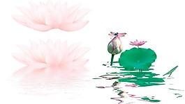 卡通粉色蓮花荷葉png元素