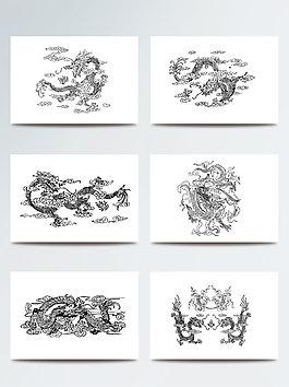 中國古典龍紋矢量素材