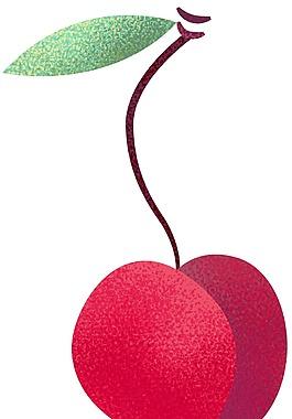 卡通紅色櫻桃png元素