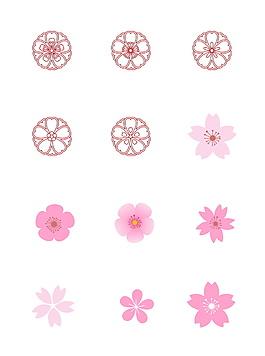 简约红色线条花朵花纹时尚元素组合