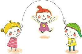 卡通歡樂兒童跳大繩png元素