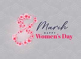 創意花朵8字婦女節標題