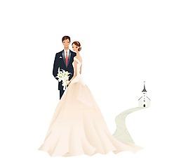 溫馨新郎新娘依偎png元素