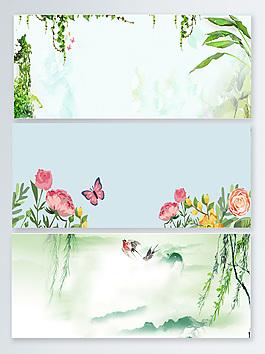 春天綠色春暖花開banner背景設計圖