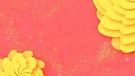 扁平卡通黃色三八節背景