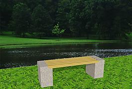 景观设计园林小品木石结合坐凳