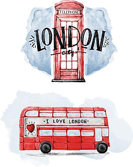 水彩倫敦巴士圖案