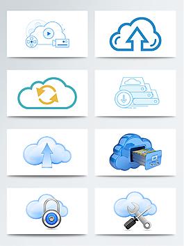 矢量藍色云計算程序